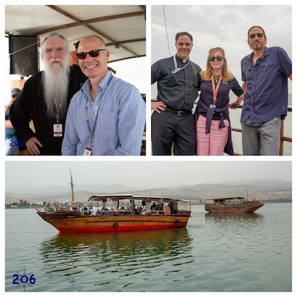 WCNLJUN19 HOLY LAND PIC 10 DAY THREE ON THE SEA OF GALILEE WTH LEFT TO RIGHT JOHN MICHAEL TALBOT MATTHEW LEONARD FR. DONALD CALLOWAY MILANKA AND JIM CAVIEZEL
