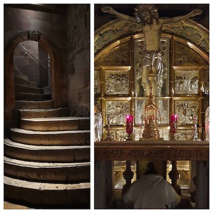 WCNLJUN19 HOLY LAND PIC 15 DAY FIVE THE STAIRS OF CALVARY AND THE PLACE WHERE JESUS WAS CRUCIFIED OM GOLGOTHA