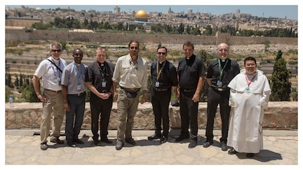 WCNLJUN19 HOLY LAND PIC 20 DAY FIVE OUR PRIESTS FROM LEFT TO RIGHT FR. PETER DUGANDZIC FR. PHILIP PAUL TAH FR. PATRCIK KEANE JIM CAVIEZEL FR. SEAN MAGALDI FR. JOHN AMSBERRY FR. PRZEMYSLAW NOWAK AND FR. LAWRENCE
