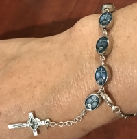 Beautiful Medjugorje Silver and Blue Rosary Bracelet