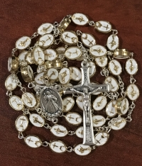 Beautiful Medjugorje Gold and White Rosaries