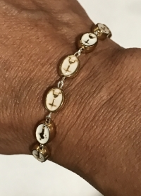 Beautiful Medjugorje Gold and White Rosary Bracelet